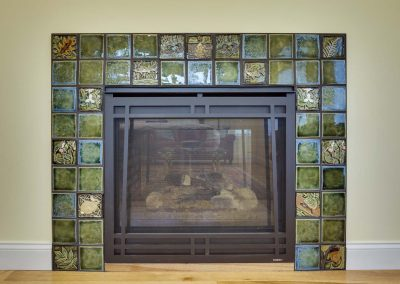 fireplace with custom green tile