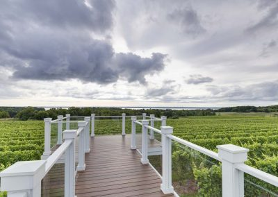 walkout viewing deck overlooking vineyard