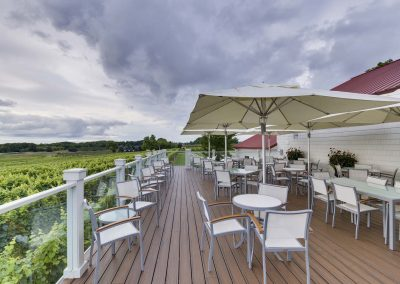 winery patio | tables, chairs, and umbrellas