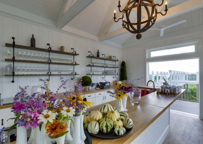 winery tasting room with open shelving